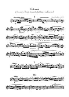Cadenzas to Dittersdorf Oboe Concerto in G major by Karl Ditters von Dittersdorf: Cadenzas to Dittersdorf Oboe Concerto in G major by Karl Ditters von Dittersdorf by Plamen Prodanov