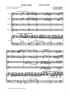 Vocalise, Op.34 No.14: For violin ensemble and piano by Sergei Rachmaninoff