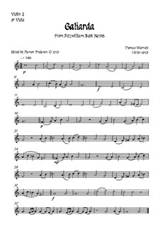 Fitzwilliam Virginal Book. No.98 Galiarda: For recorder (or oboe) and strings – violin II (viola) part by Thomas Warrock