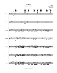 No.4 in E Minor: For four guitars (bossa) – score and parts by Frédéric Chopin