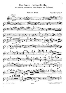 Sinfonia Concertante in B Flat Major, Op.84: For violin, cello, oboe, bassoon and piano – violin part by Joseph Haydn