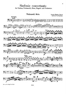 Sinfonia Concertante in B Flat Major, Op.84: For violin, cello, oboe, bassoon and piano – cello part by Joseph Haydn