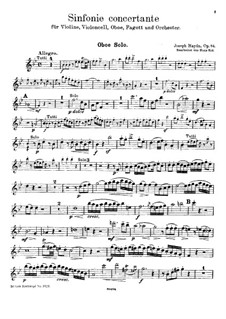 Sinfonia Concertante in B Flat Major, Op.84: For violin, cello, oboe, bassoon and piano – oboe part by Joseph Haydn