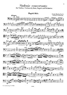 Sinfonia Concertante in B Flat Major, Op.84: For violin, cello, oboe, bassoon and piano – bassoon part by Joseph Haydn