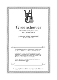 Greensleeves: For classical guitar by folklore