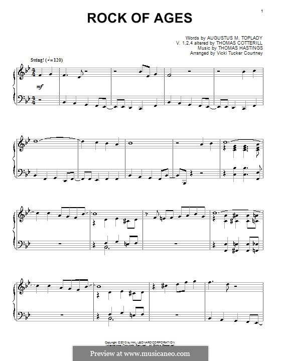 Rock of Ages: Para Piano by Thomas Hastings