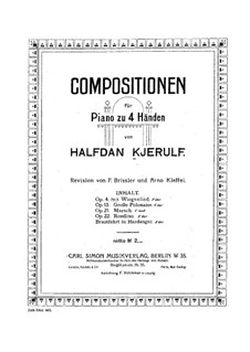 Three Pieces, Op.4: No.3 Cradle Song for piano four hands by Halfdan Kjerulf