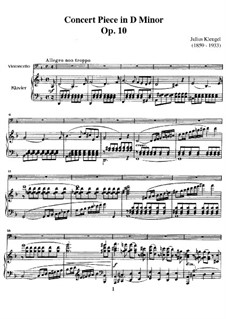Concert Piece for Cello and Piano, Op.10: Score by Julius Klengel