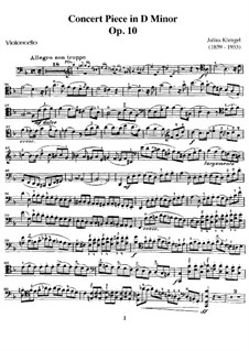 Concert Piece for Cello and Piano, Op.10: Parte de solo by Julius Klengel