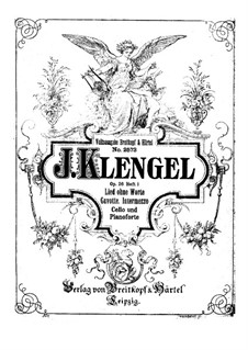 Six Pieces for Cello and Piano, Op.26: Book I No.1-3 by Julius Klengel