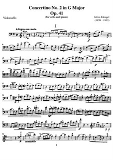 Concertino for Cello and Piano No.2, Op.41: Parte de solo by Julius Klengel