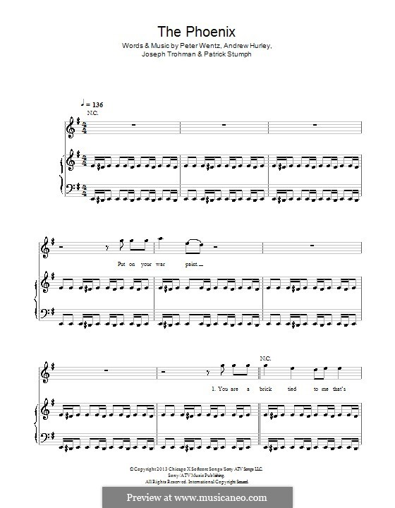The Phoenix (Fall Out Boy): Para vocais e piano (ou Guitarra) by Andrew Hurley, Joseph Trohman, Patrick Stump, Peter Wentz
