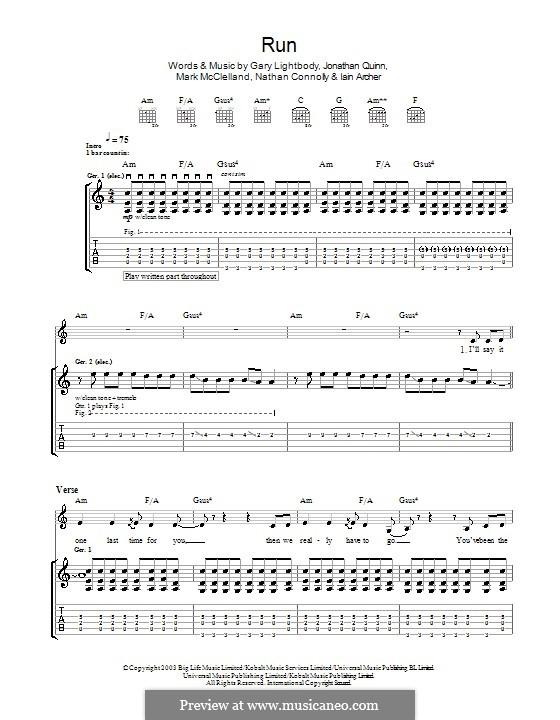 Run: For guitar with tab (Snow Patrol) by Gary Lightbody, Iain Archer, Jonathan Quinn, Mark McClelland, Nathan Connolly