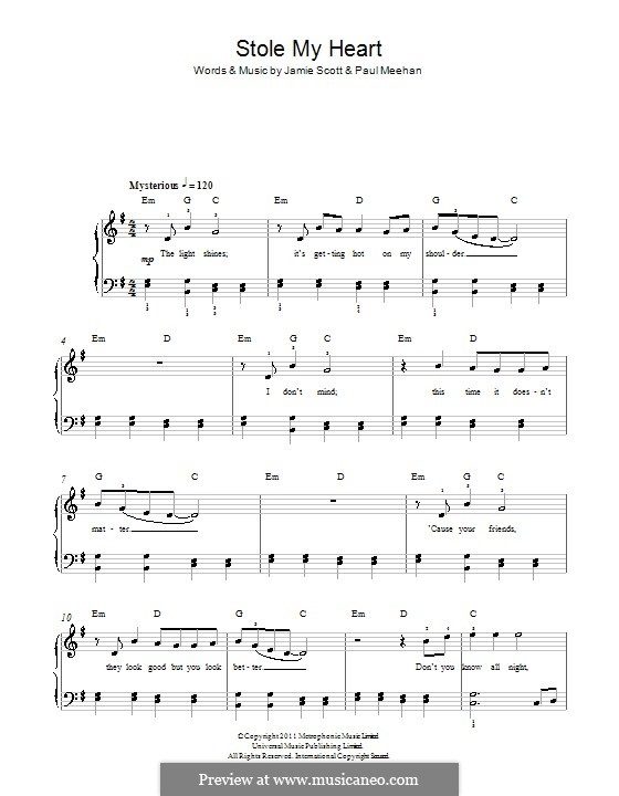 Stole My Heart (One Direction): Para Piano by Paul Meehan, Jamie Scott