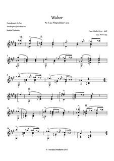 Thirty-Six Original Dances, D.365 Op.9: No.6 Waltz, for guitar by Franz Schubert