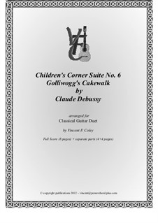 No.6 Golliwogg's Cakewalk: For two classical guitars by Claude Debussy