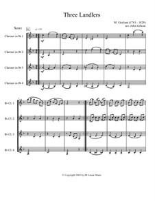 Three Ländler, Op.80, 92: Version for clarinet quartet by Mauro Giuliani