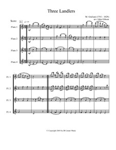 Three Ländler, Op.80, 92: Version for flute quartet by Mauro Giuliani