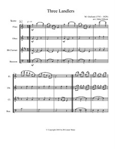 Three Ländler, Op.80, 92: Version for flute, oboe, clarinet and bassoon by Mauro Giuliani