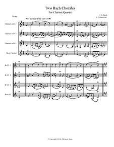 Wer nur den lieben Gott and Ich danke dir lieber Herr: para quarteto de clarinete by Johann Sebastian Bach