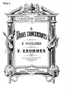 Three Concert Duos for Two Violins, Op.33: violino parte I by Franz Krommer