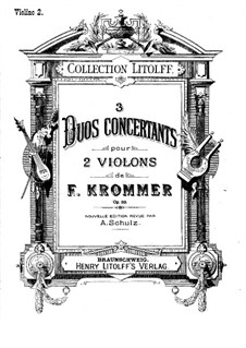 Three Concert Duos for Two Violins, Op.33: violino parte II by Franz Krommer