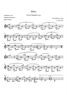 Thirty-Six Original Dances, D.365 Op.9: No.8 Waltz, for guitar by Franz Schubert