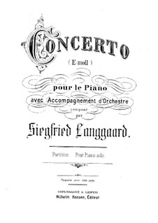 Piano Concerto in E Minor: partitura completa by Siegfried Langgaard