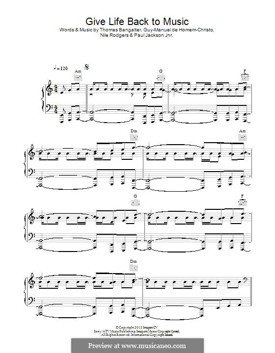 Give Life Back To Music (Daft Punk): Para vocais e piano (ou Guitarra) by Nile Rodgers, Thomas Bangalter, Guy-Manuel de Homem-Christo, Paul Jackson Jr.