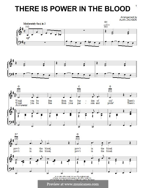 There Is Power in the Blood: Para vocais e piano (ou Guitarra) by Lewis Edgar Jones