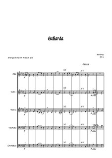 Galiarda: For oboe, two violins, cello and double bass – score by Unknown (works before 1850)
