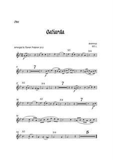 Galiarda: For oboe, two violins, cello and double bass – parts by Unknown (works before 1850)