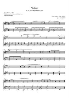 Thirty-Six Original Dances, D.365 Op.9: No.10 Waltz, for violin and guitar by Franz Schubert