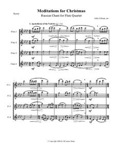 Meditations for Christmas. Russian Chant: para quarteto de flauta by Sergei Rachmaninoff, folklore