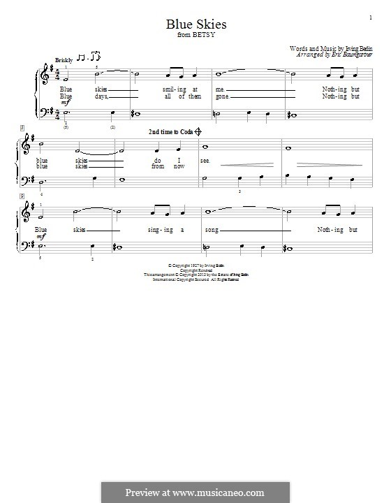 Blue Skies: Para Piano by Irving Berlin