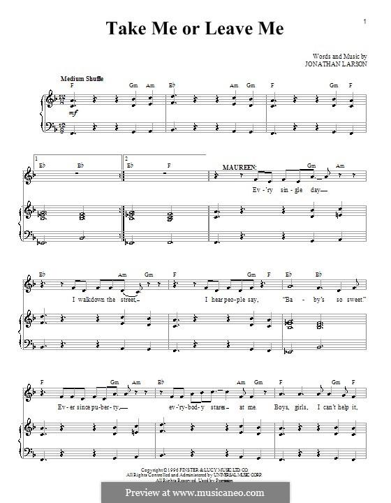 Take Me or Leave Me: Para vocais e piano by Jonathan Larson