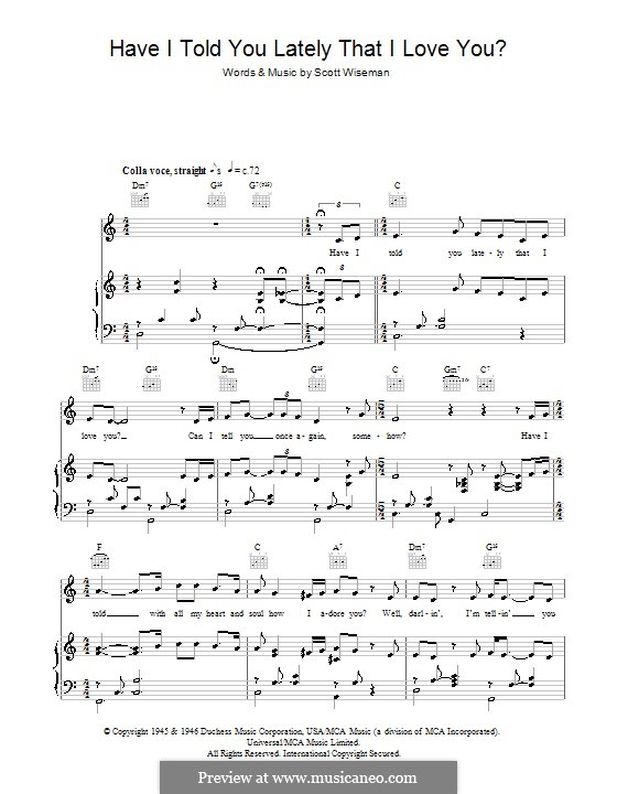 Have I Told You Lately That I Love You: Para vocais e piano (ou Guitarra) by Scott Wiseman