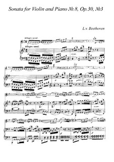 Sonata for Violin and Piano No.8, Op.30 No.3: partitura by Ludwig van Beethoven