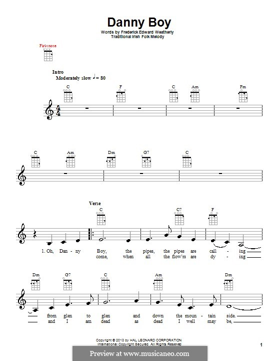Danny Boy (Printable Scores): para ukulele by folklore