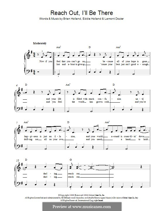 Reach Out, I'll Be There (The Four Tops): Para Piano by Brian Holland, Edward Holland Jr., Lamont Dozier