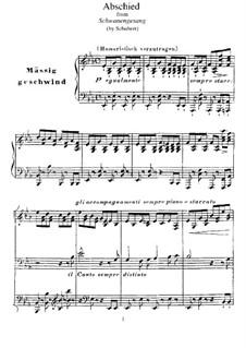 No.7 Abschied (Farewell): Para Piano, S.560 No.5 by Franz Schubert