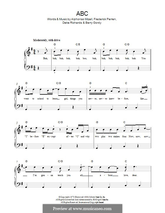 ABC (The Jackson 5): Para Piano by Alphonso Mizell, Berry Gordy, Deke Richards, Freddie Perren