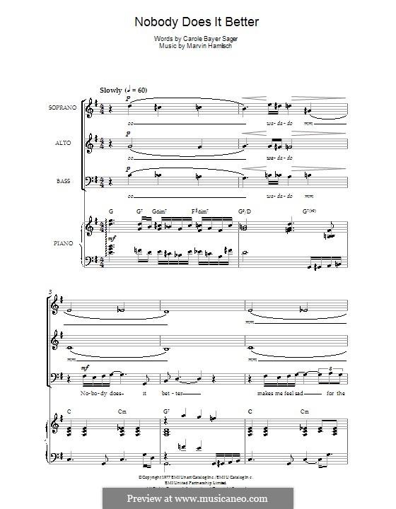 Nobody Does It Better (theme from James Bond: The Spy Who Loved Me): Para coro misto e piano by Marvin Hamlisch
