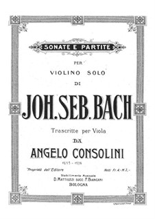 Sonatas and Partitas for Violin, BWV 1001-1006: Arranjo de viola by Johann Sebastian Bach