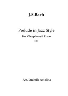 Prelude and Fugue No.6 in D Minor, BWV 851: For vibraphone and piano in jazz style by Johann Sebastian Bach