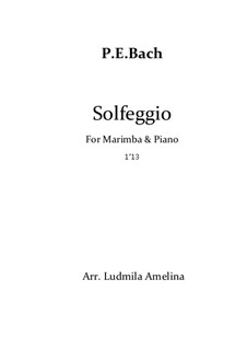 Solfeggietto, H 220 Wq 117:2: For marimba and piano by Carl Philipp Emanuel Bach