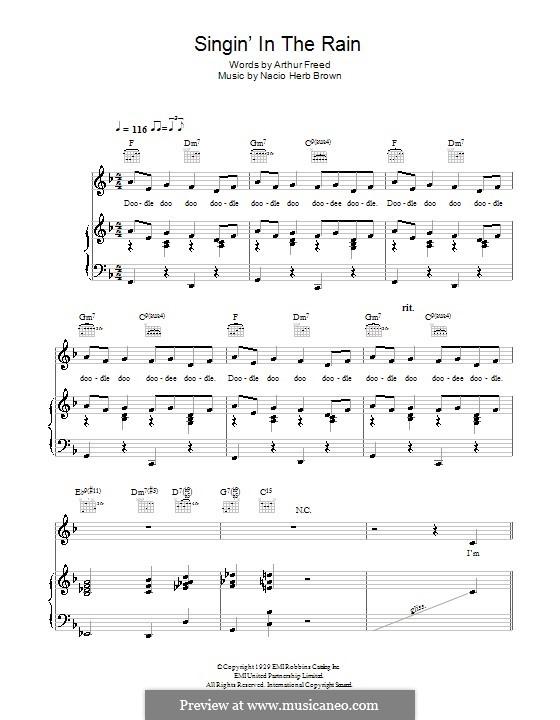 Singin' in the Rain (Gene Kelly): Para vocais e piano (ou Guitarra) by Nacio Herb Brown