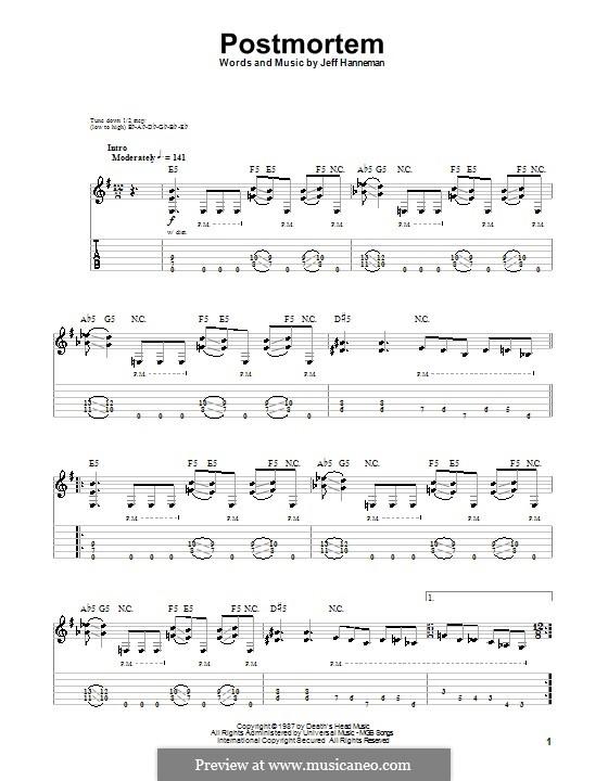 Postmortem (Slayer): Para guitarra com guia by Jeffery Hanneman