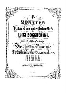 Sonata for Cello and Basso Continuo in A Major, G.4: Version for cello and piano – score, part by Luigi Boccherini