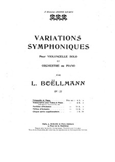Symphonic Variations for Cello and Piano, Op.23: Score by Léon Boëllmann
